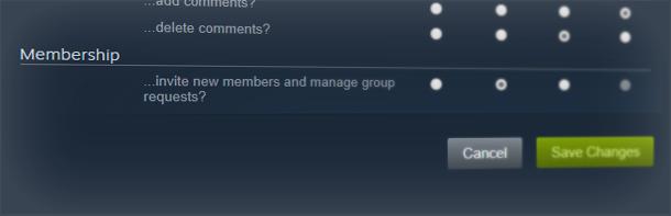 Управление группой Steam