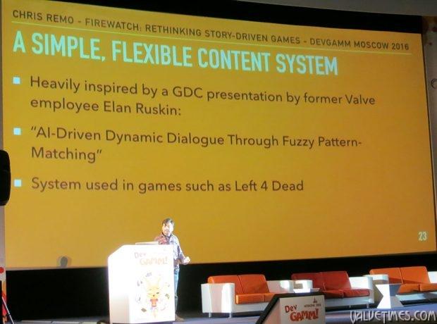 Firewatch на Devgamm - система диалогов из игр Valve